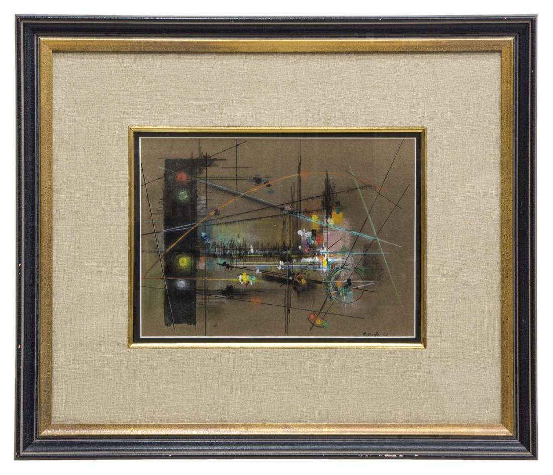 FRAMED MID-CENTURY MODERN ABSTRACT SIGNED PAINTING - 2