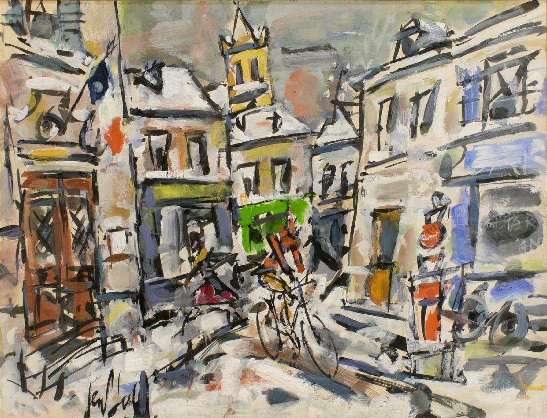 FRAMED PAINTING ON PAPER, ABSTRACT VILLAGE BICYCLE