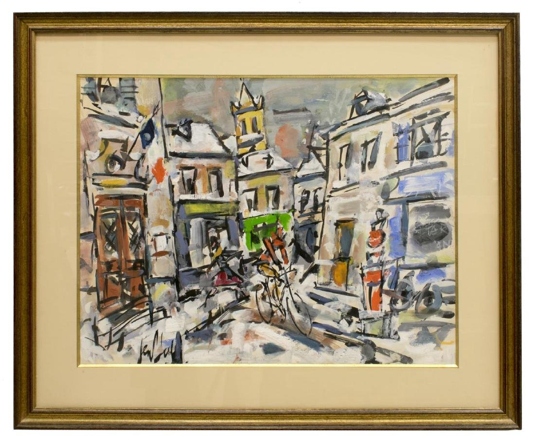 FRAMED PAINTING ON PAPER, ABSTRACT VILLAGE BICYCLE - 2