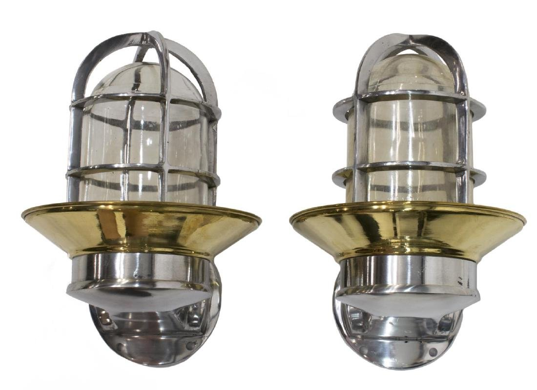 (2) INDUSTRIAL STYLE ALUMINUM & BRASS WALL LIGHTS