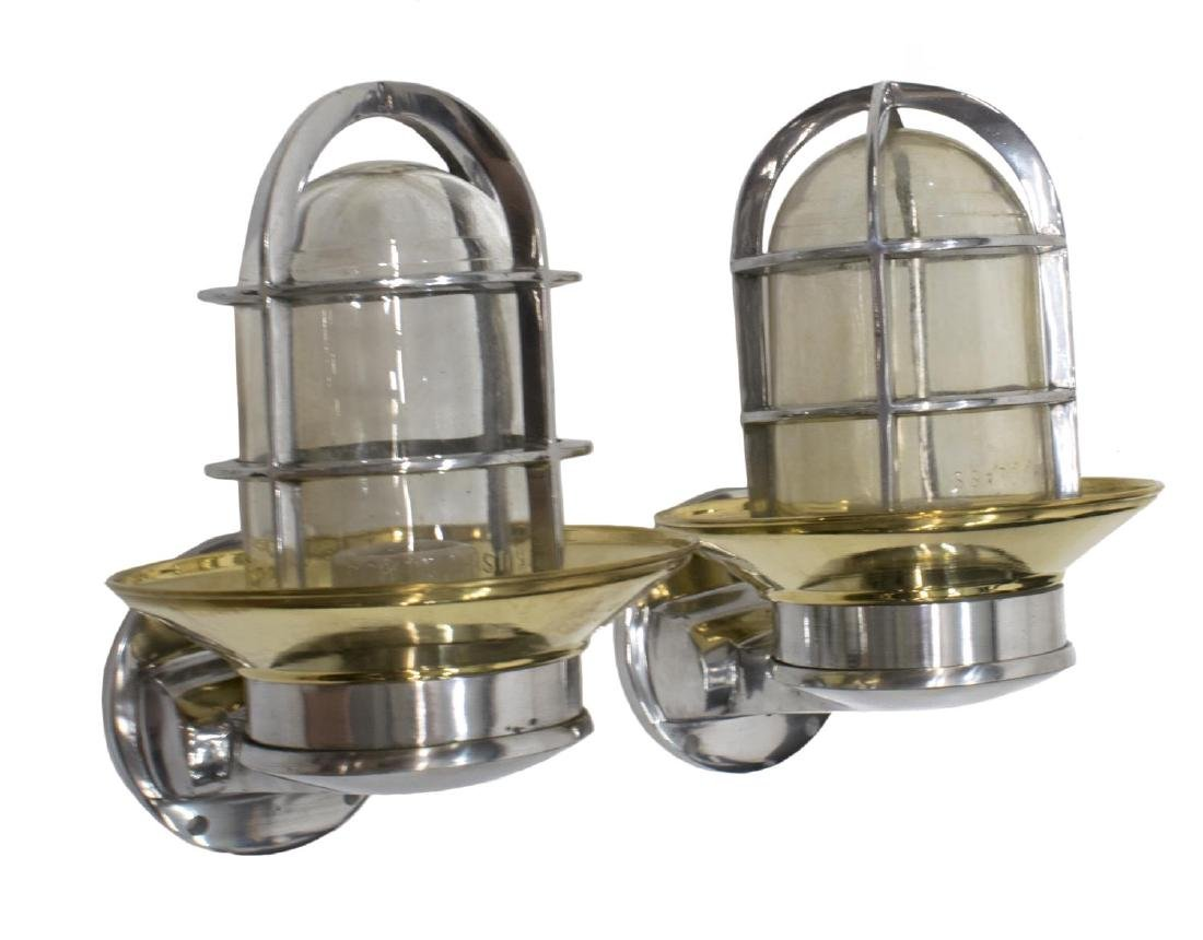 (2) INDUSTRIAL STYLE ALUMINUM & BRASS WALL LIGHTS - 2