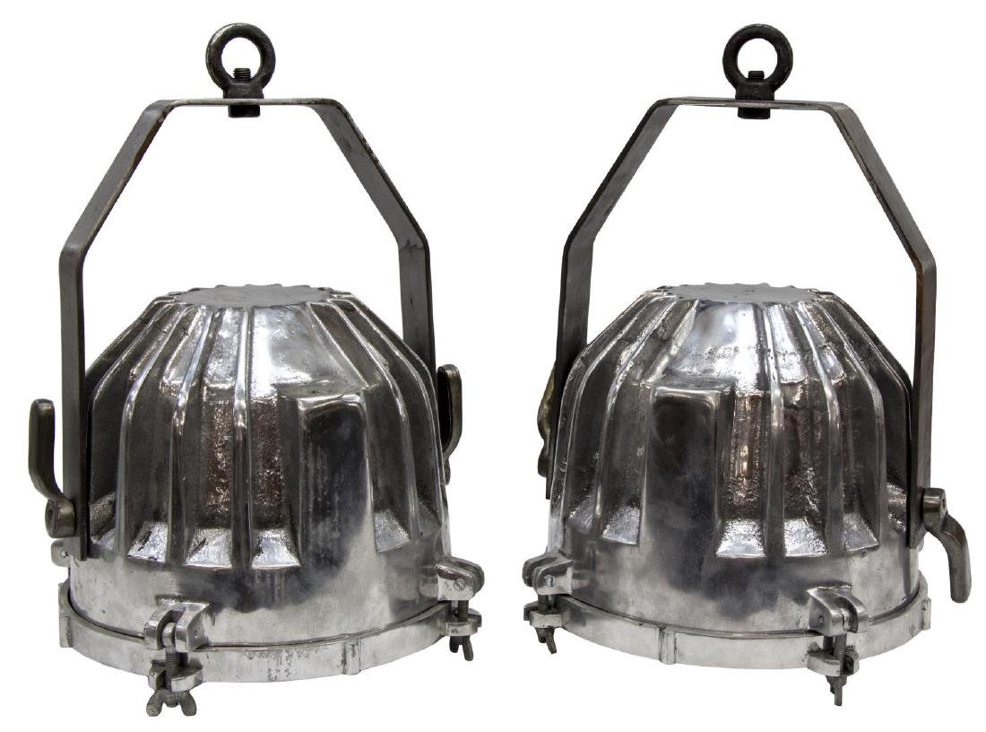 (2)INDUSTRIAL STYLE RIBBED ALUMINUM PENDANT LIGHTS