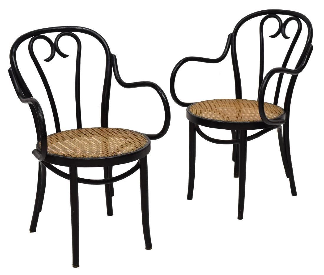 (2) THONET STYLE BENTWOOD ARM CHAIRS