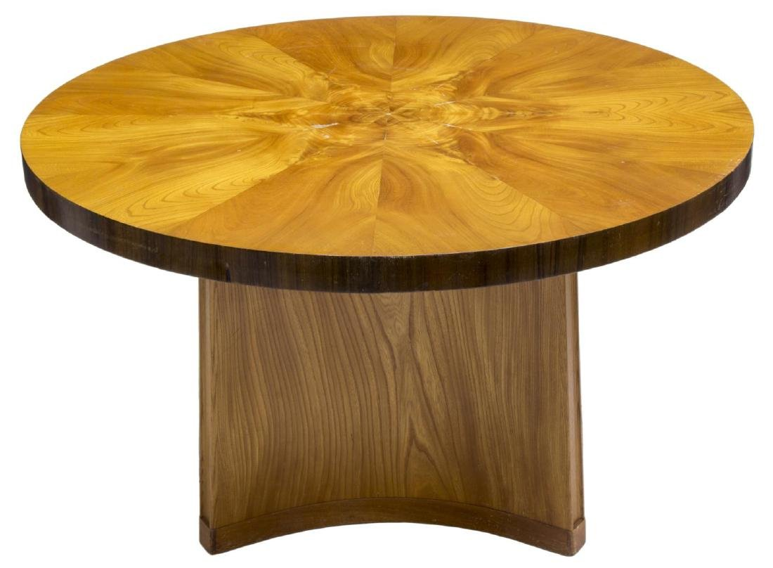 SWEDISH ART DECO ELM & MAHOGANY CENTER TABLE - 2