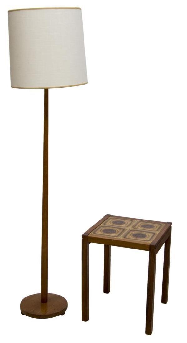 (2) DANISH MID-CENTURY FLOOR LAMP & TILE TABLE