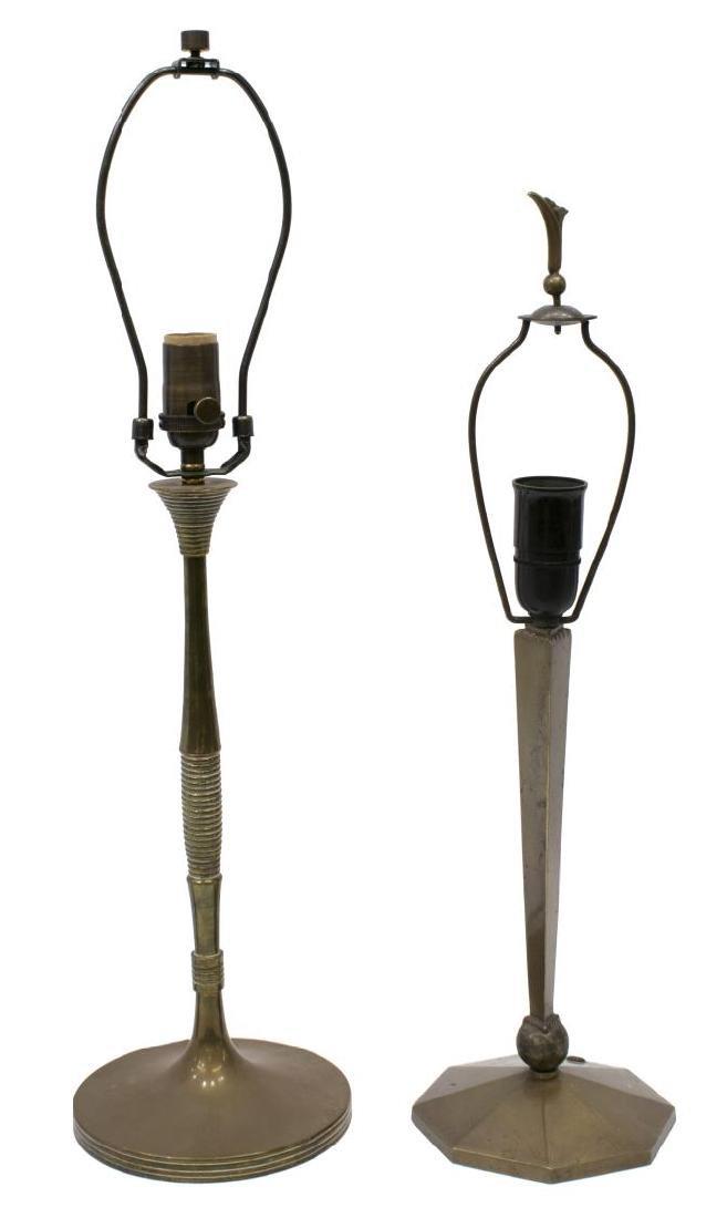 (2) ART DECO & MID-CENTURY TABLE LAMPS, BRONZE