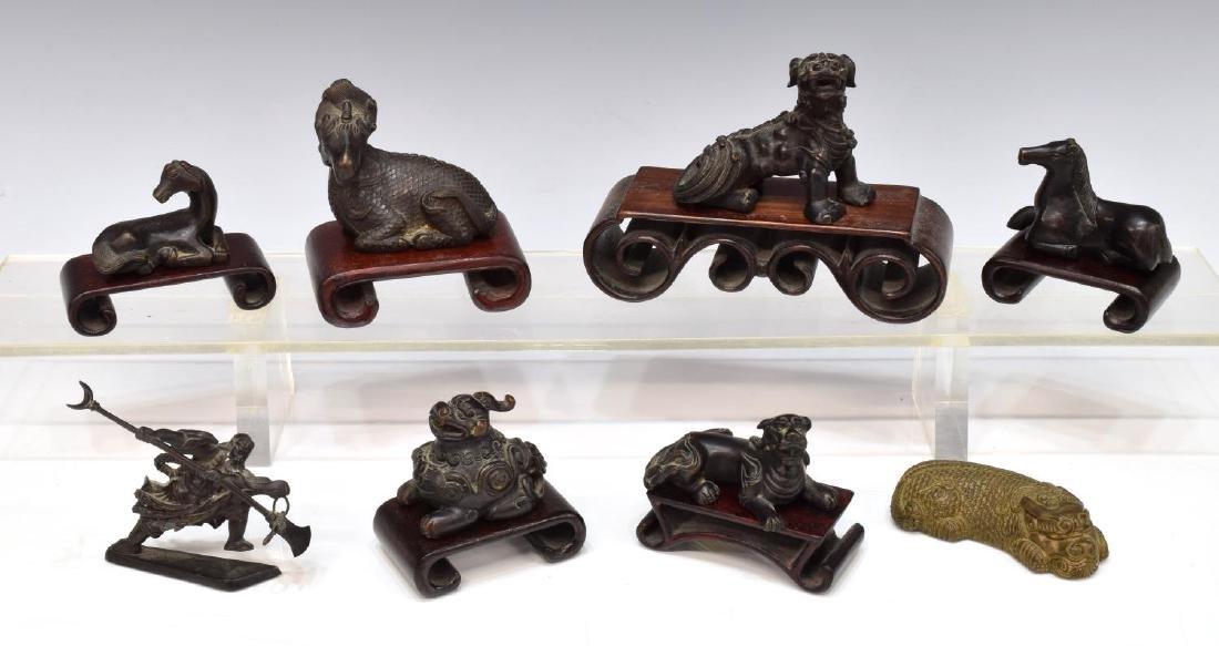 8)CHINESE BRONZE FOO LION, WARRIOR & HORSE FIGURES