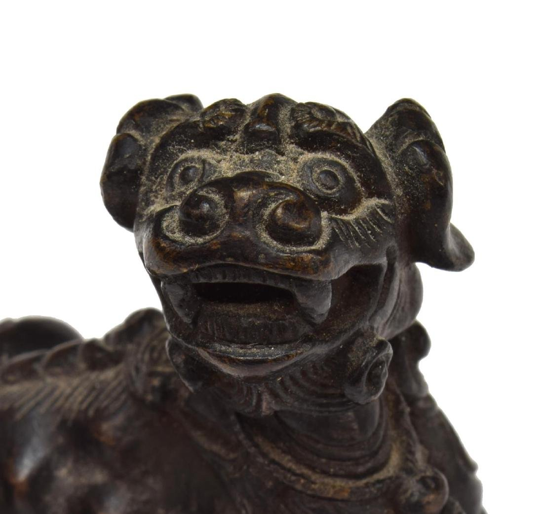 8)CHINESE BRONZE FOO LION, WARRIOR & HORSE FIGURES - 2