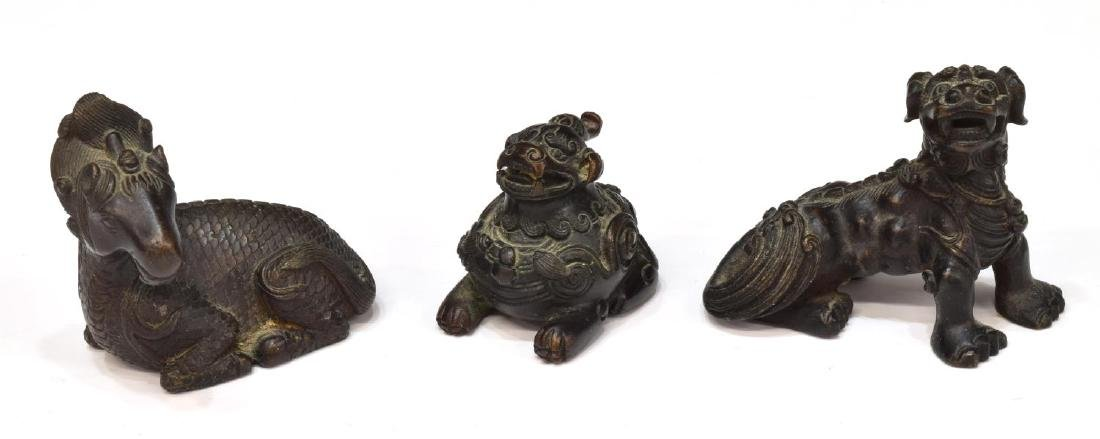 8)CHINESE BRONZE FOO LION, WARRIOR & HORSE FIGURES - 4