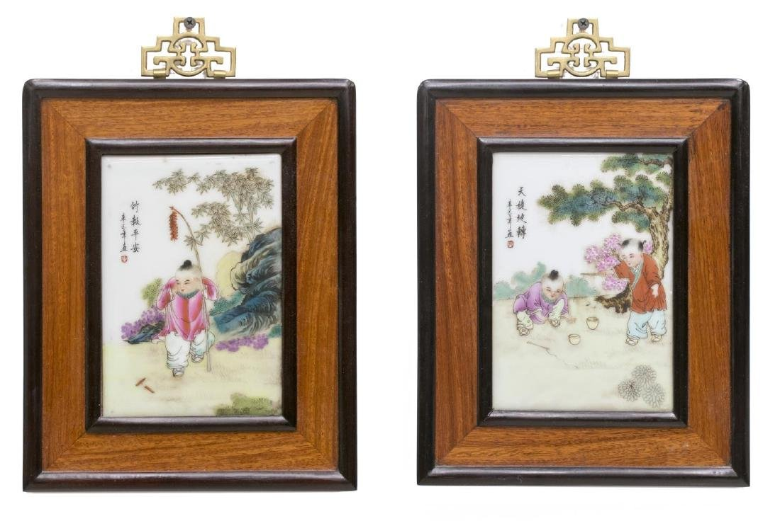 (2) FRAMED CHINESE ENAMEL ON PORECELAIN PLAQUES