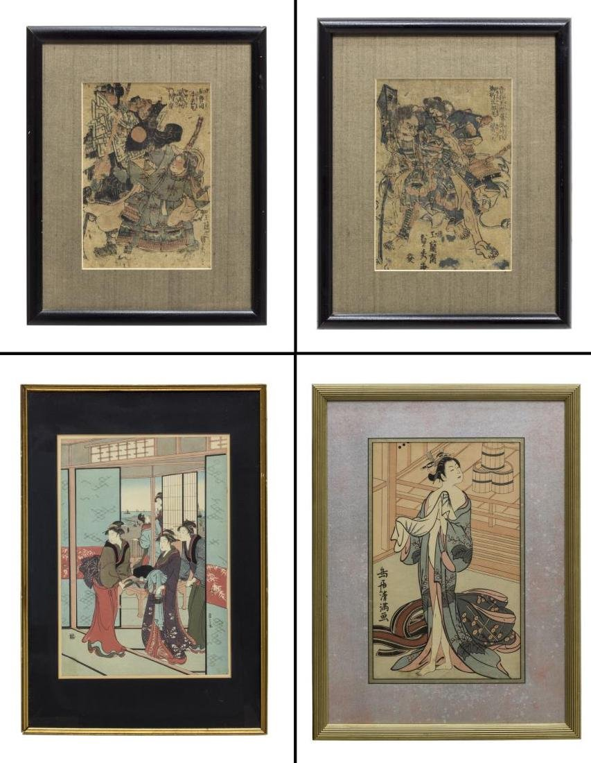 (4) FRAMED JAPANESE UKIYO-E WOODBLOCK PRINTS