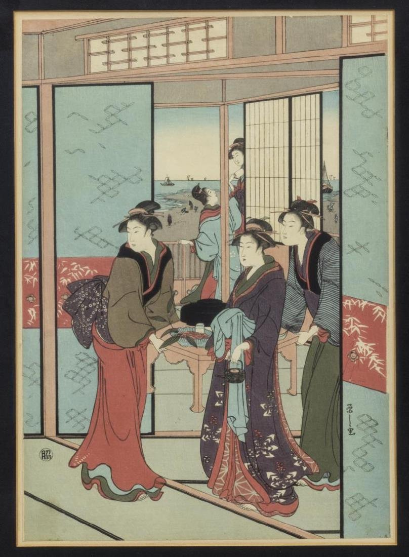 (4) FRAMED JAPANESE UKIYO-E WOODBLOCK PRINTS - 5