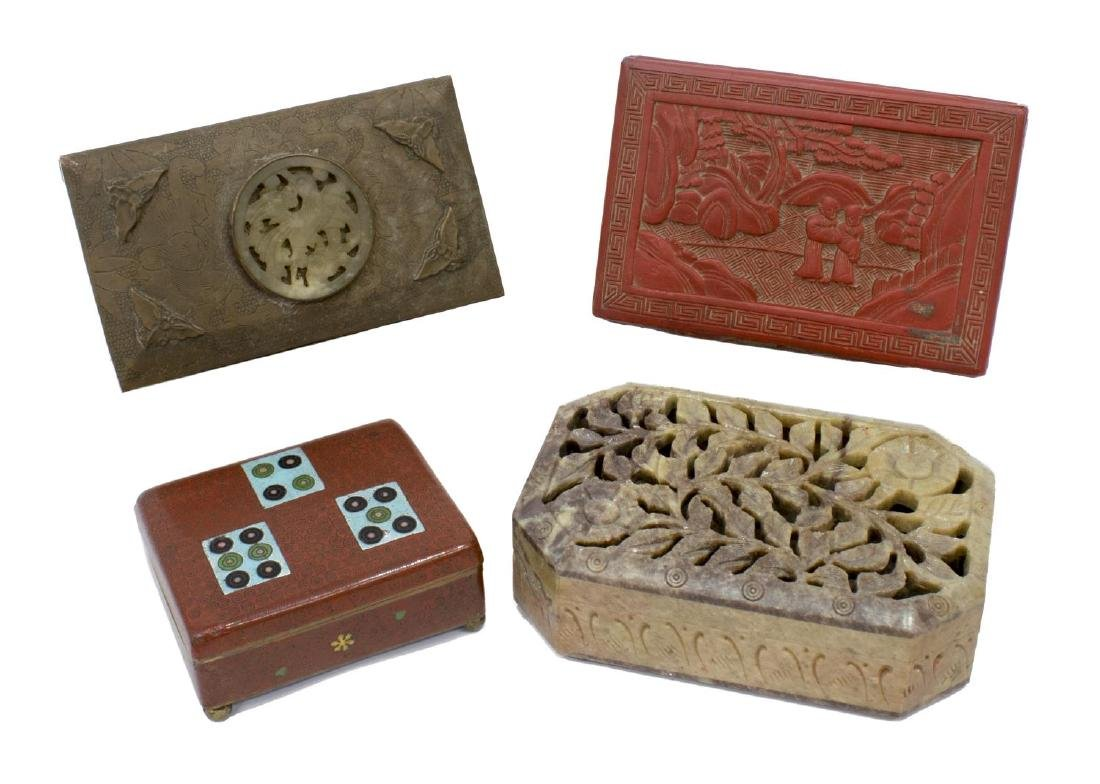 (4) CHINESE TABLE BOXES, STONE,CLOISONNE, CINNABAR