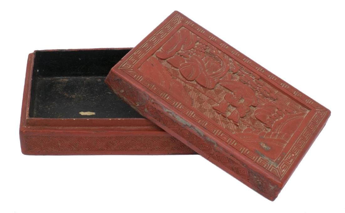 (4) CHINESE TABLE BOXES, STONE,CLOISONNE, CINNABAR - 5