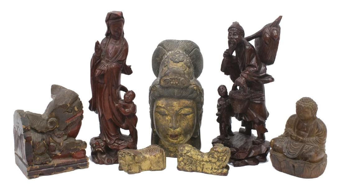 (7) GROUP OF ASIAN CARVED WOOD CABINET ITEMS
