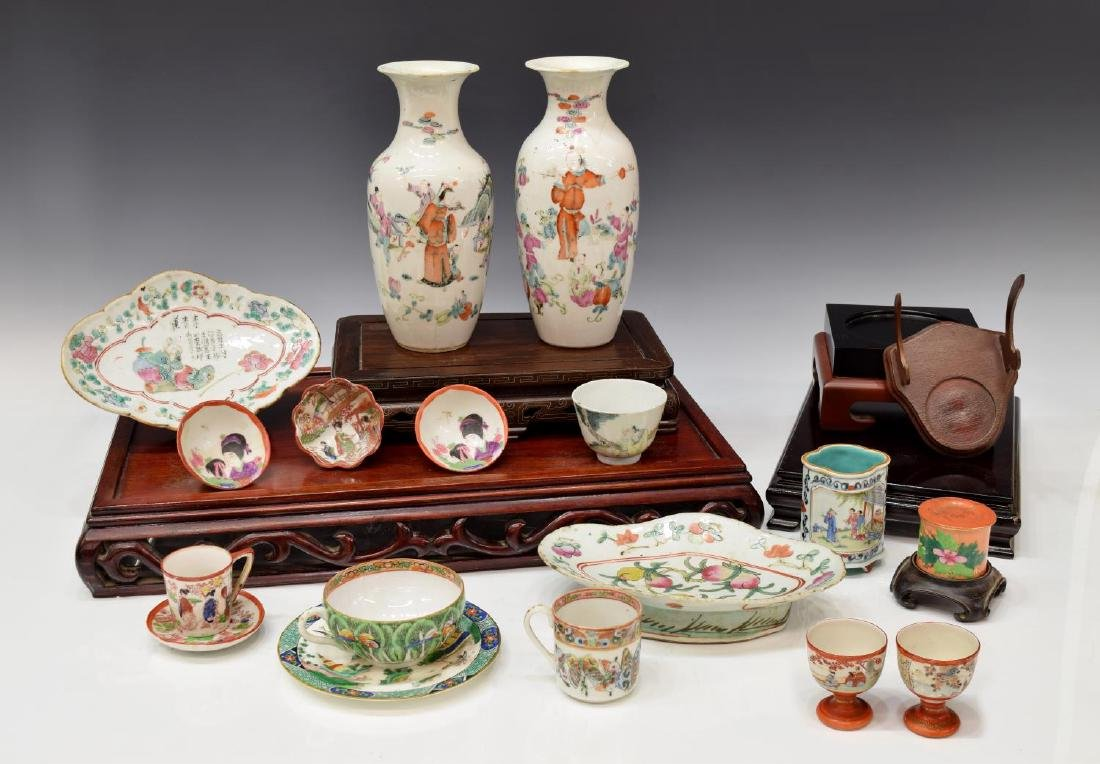 (23) COLLECTION OF ASIAN PORCELAINS & STANDS