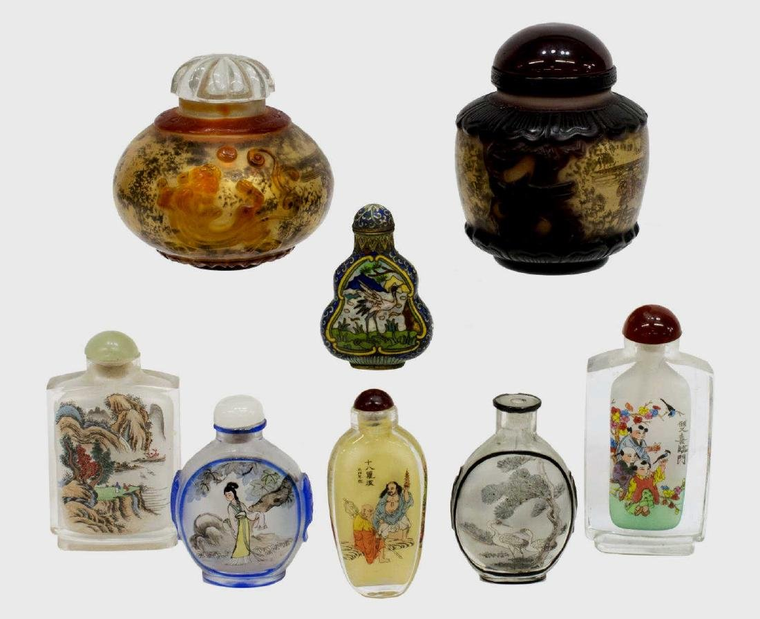 (8) CHINESE PAINTED OVERLAY JARS & SNUFF BOTTLES