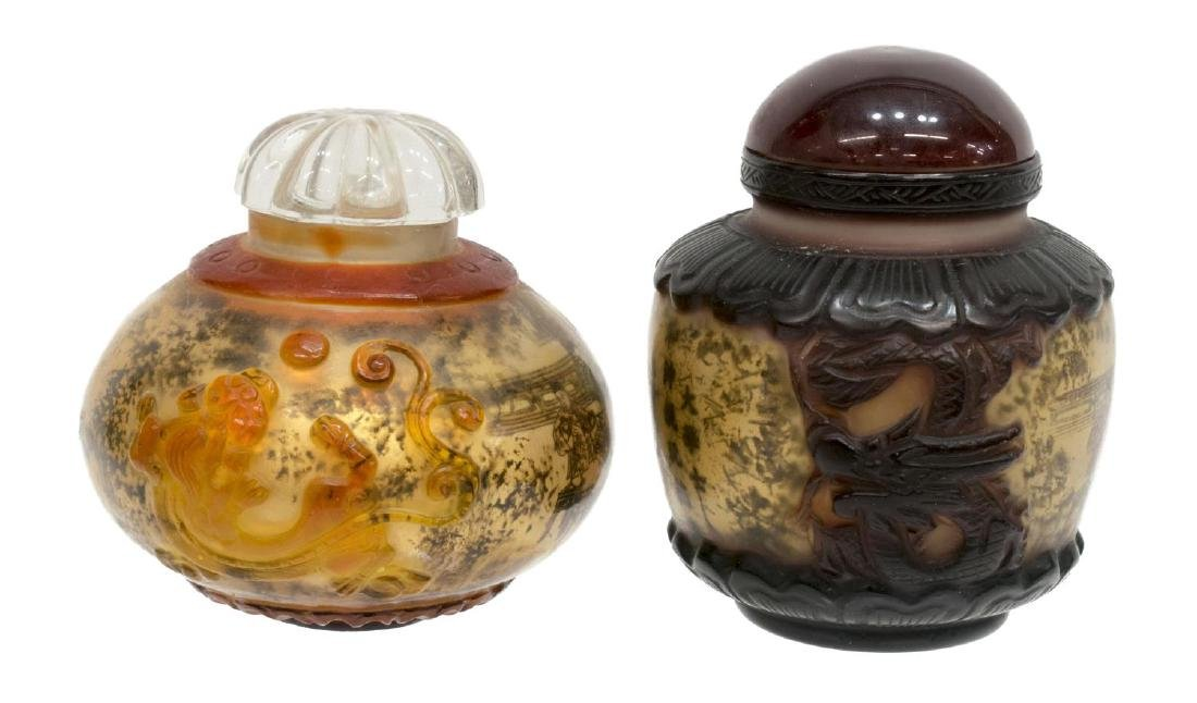 (8) CHINESE PAINTED OVERLAY JARS & SNUFF BOTTLES - 2