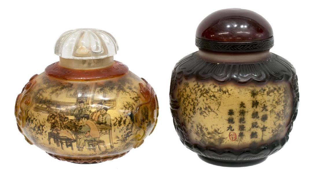 (8) CHINESE PAINTED OVERLAY JARS & SNUFF BOTTLES - 3