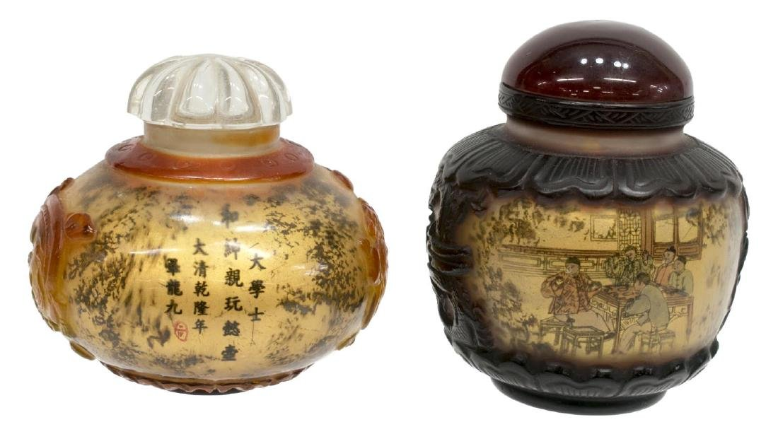 (8) CHINESE PAINTED OVERLAY JARS & SNUFF BOTTLES - 4