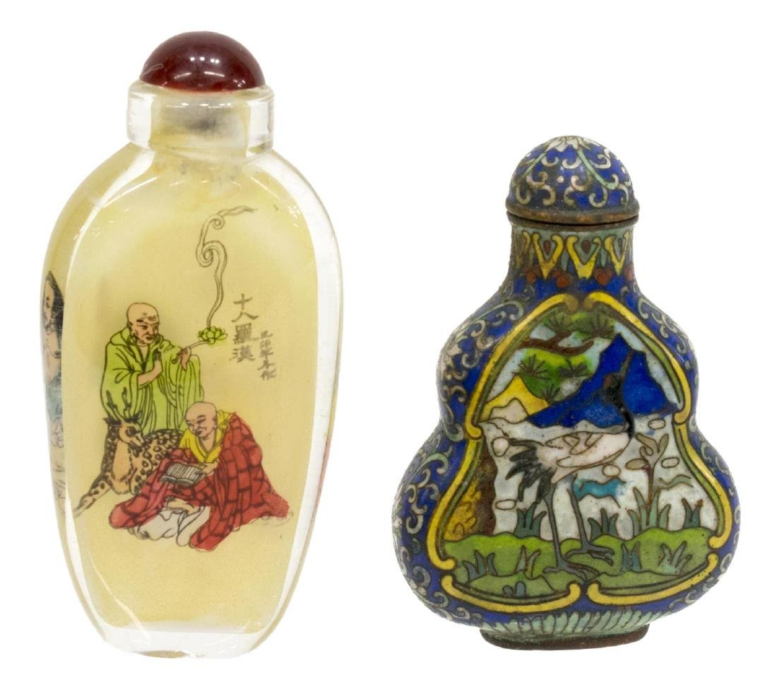 (8) CHINESE PAINTED OVERLAY JARS & SNUFF BOTTLES - 6