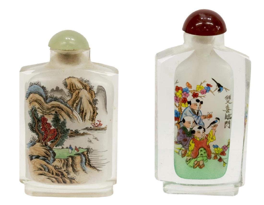 (8) CHINESE PAINTED OVERLAY JARS & SNUFF BOTTLES - 7