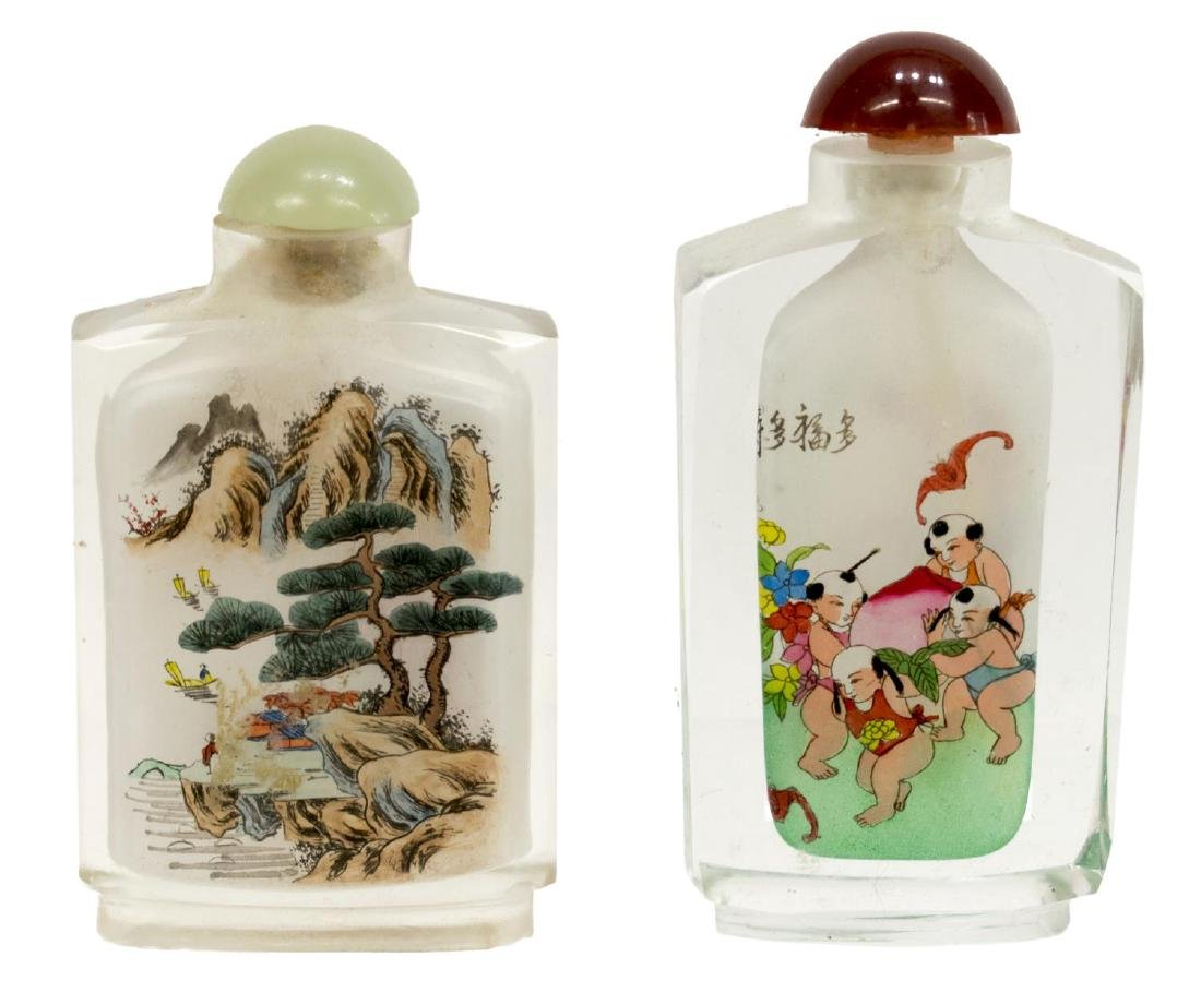 (8) CHINESE PAINTED OVERLAY JARS & SNUFF BOTTLES - 8