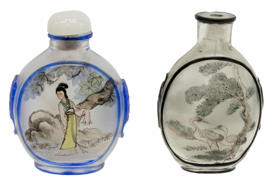 (8) CHINESE PAINTED OVERLAY JARS & SNUFF BOTTLES - 9