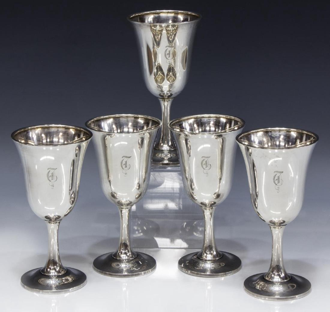 (5) WALLACE STERLING SILVER MONOGRAMMED GOBLETS