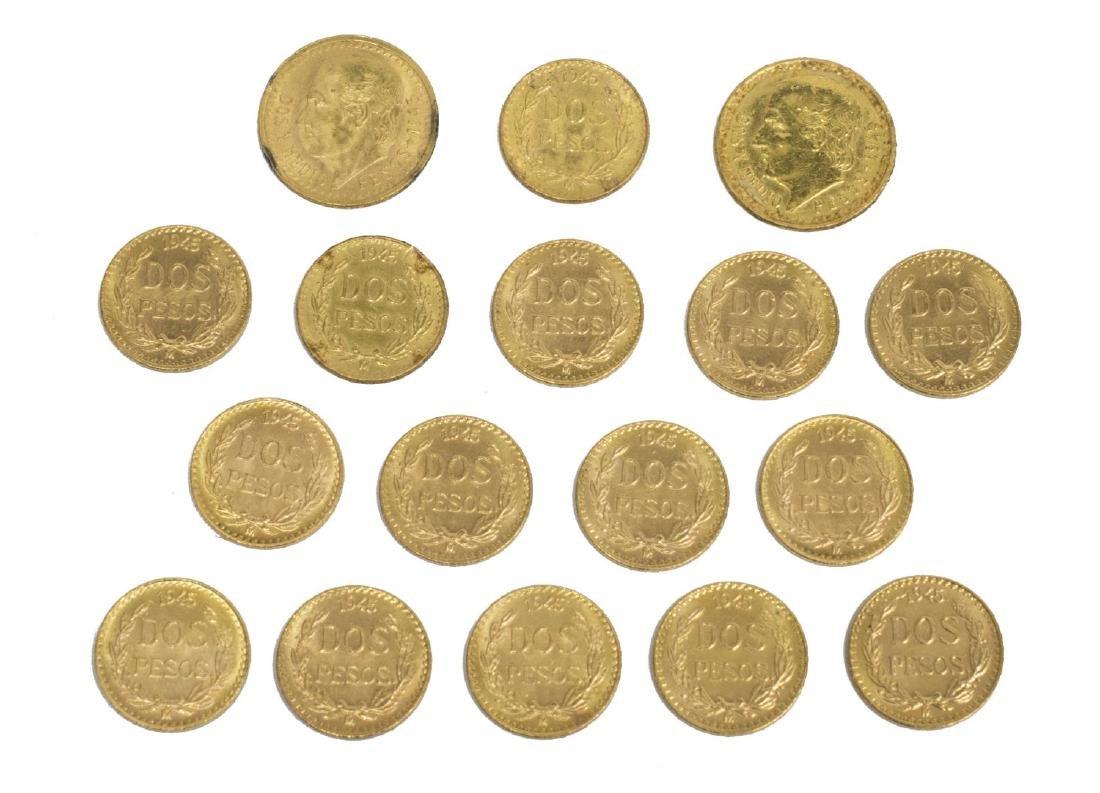 (17) MEXICO 1945 DOS PESOS GOLD COINS, .81 OZT