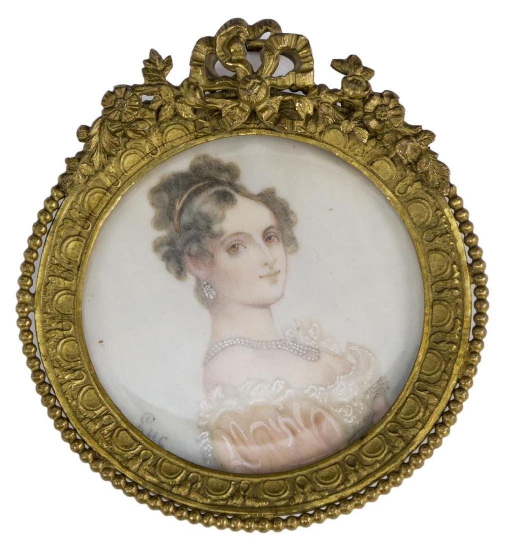 FRAMED SIGNED MINIATURE PORTRAIT OF A LADY - 3