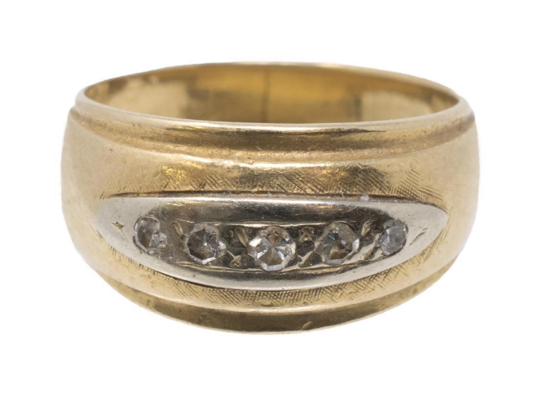LADIES 14KT YELLOW GOLD & DIAMOND ESTATE RING - 2