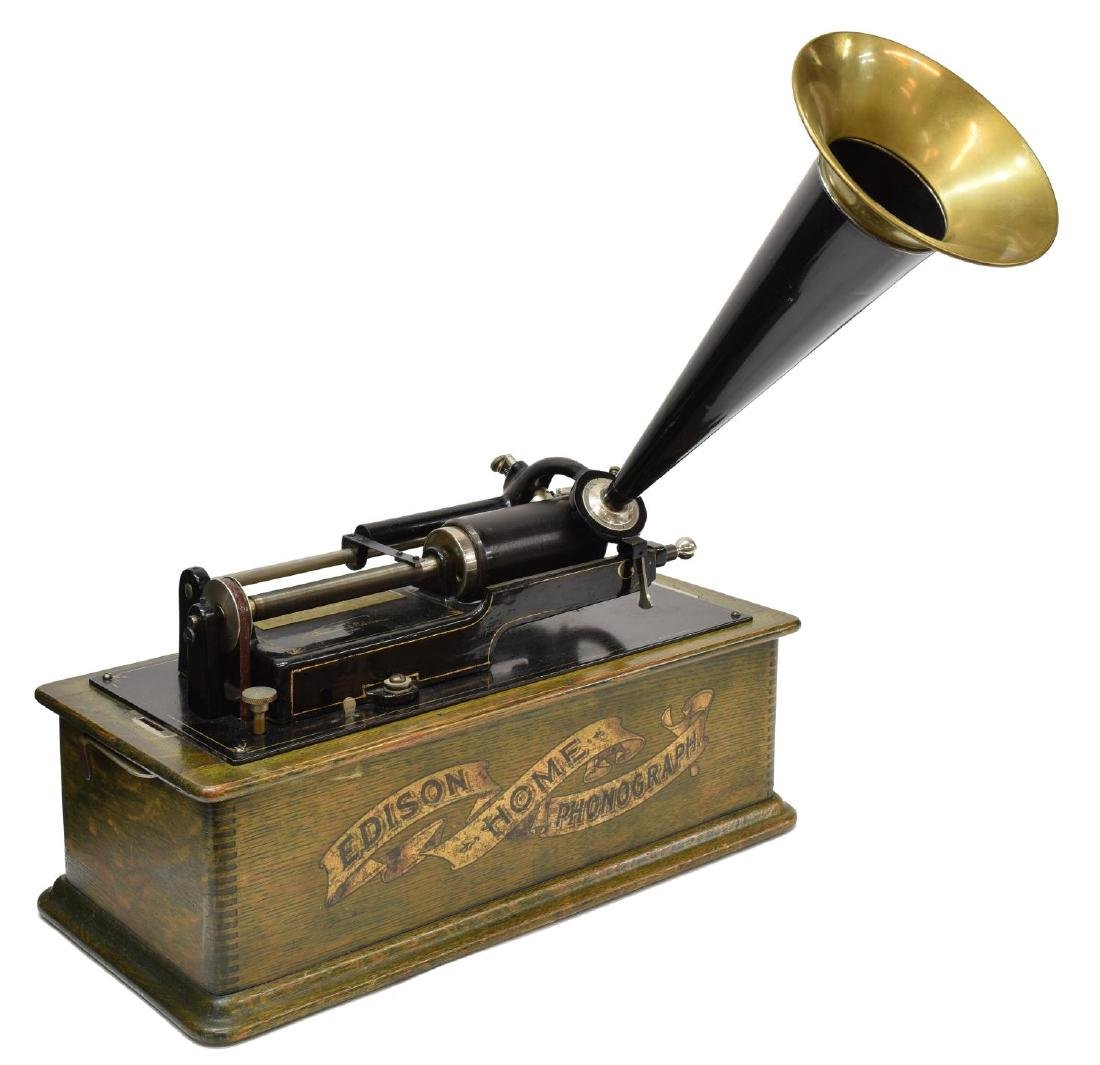 EDISON HOME PHONOGRAPH CYLINDER PLAYER & HORN 1903