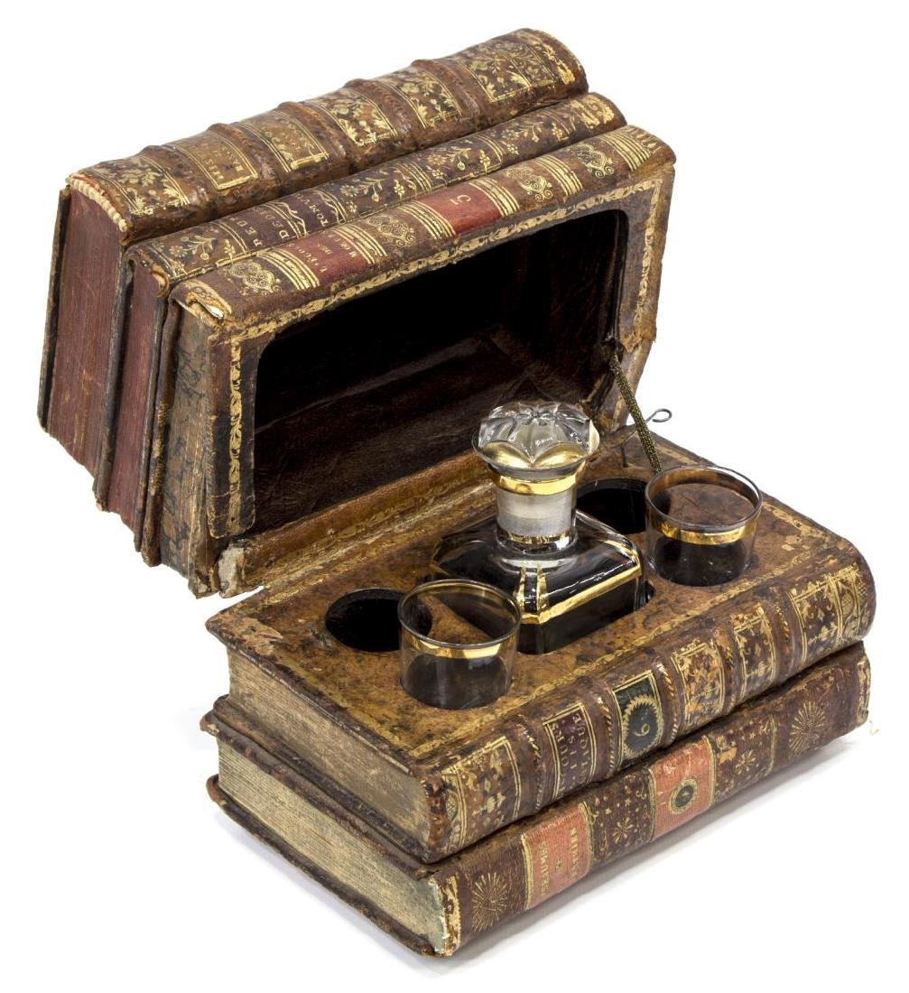 LEATHER BOOK HIDDEN TANTALUS DECANTER SET - 2