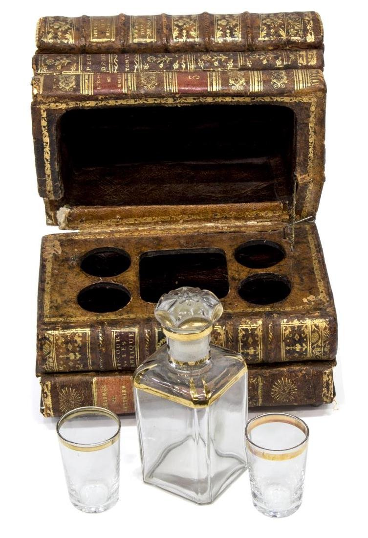 LEATHER BOOK HIDDEN TANTALUS DECANTER SET - 3