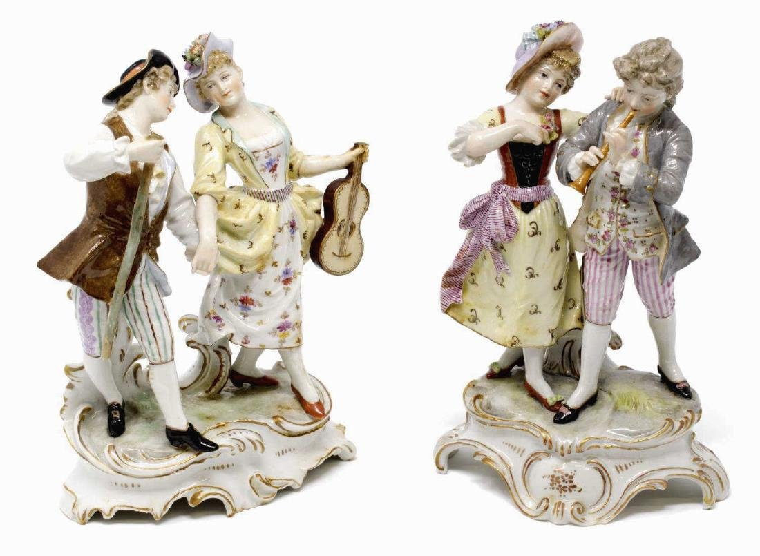 (2) PAIR OF HOCHST PORCELAIN FIGURES