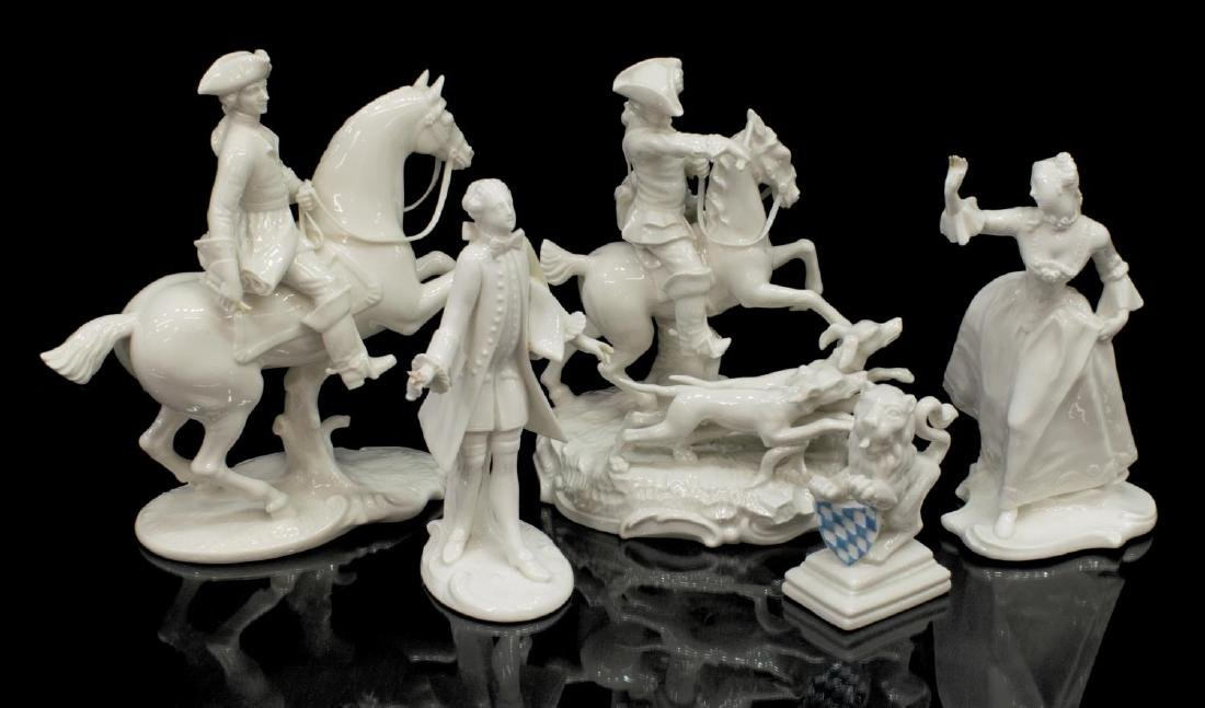 (5) NYMPHENBURG GERMAN BLANC PORCELAIN FIGURES