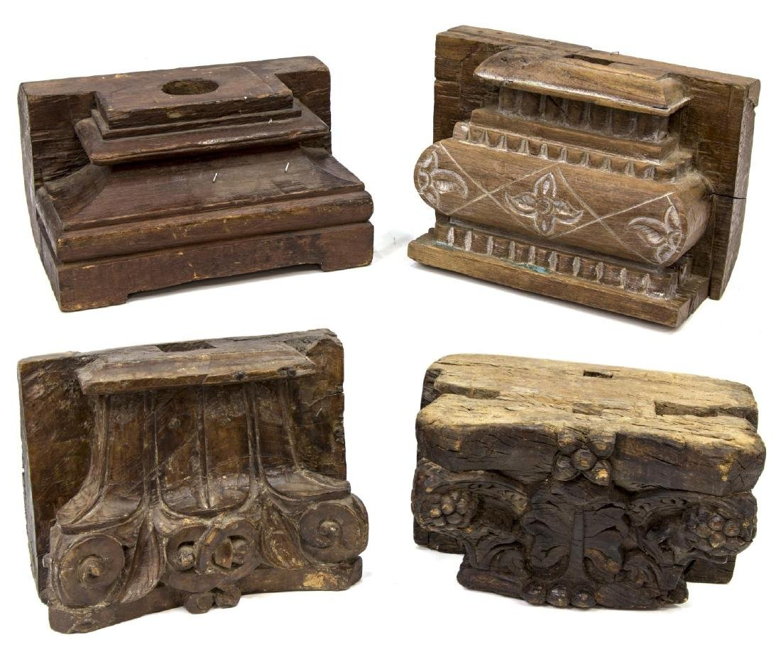 (4) ANGLO-INDIAN CARVED TEAK ARCHITECTURAL ELEMENT