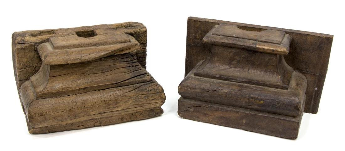 (4) ANGLO-INDIAN CARVED TEAK ARCHITECTURAL ELEMENT - 2
