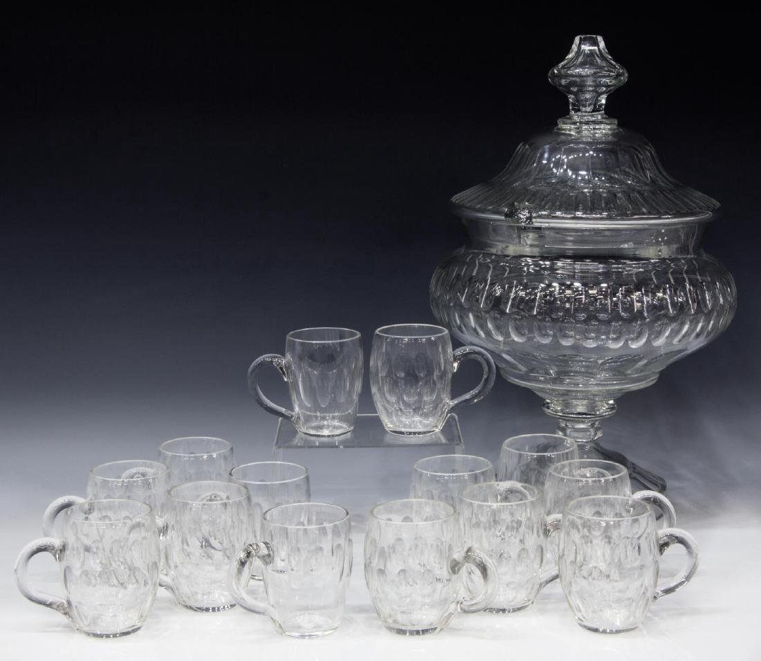 (15) COLORLESS THUMBPRINT CUT GLASS PUNCH SERVICE
