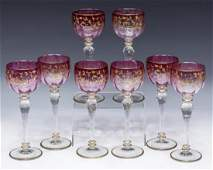 (8)MOSER STYLE CRANBERRY & GILDED STEMWARE GOBLETS