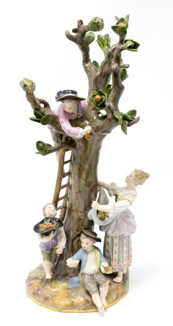 MEISSEN PORCELAIN FIGURAL GROUP, THE APPLE PICKERS