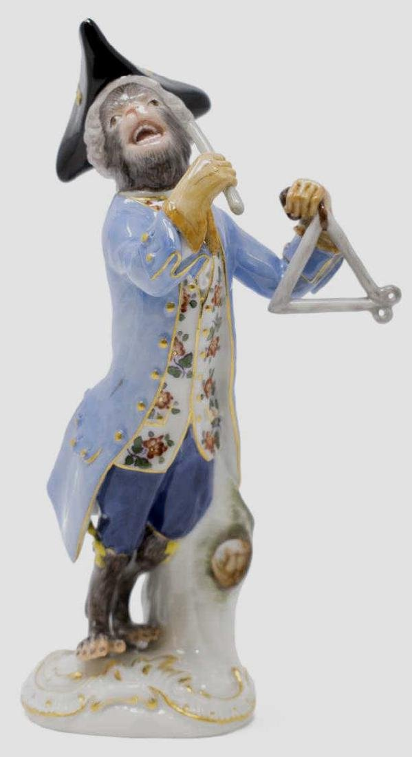 MEISSEN PORCELAIN FIGURE MONKEY PLAYING TRIANGLE
