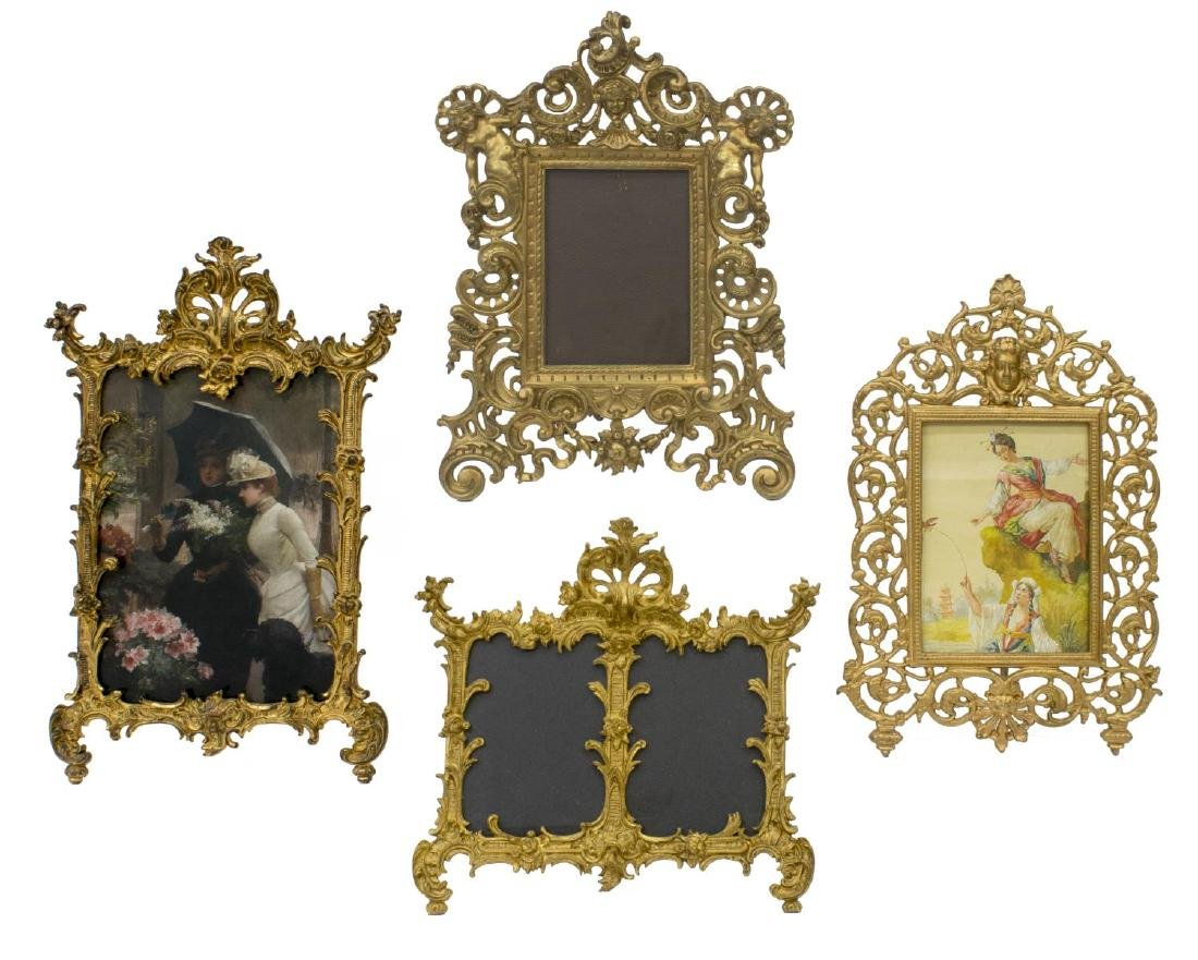 (4) ANTIQUE GILT METAL STANDING PICTURE FRAMES
