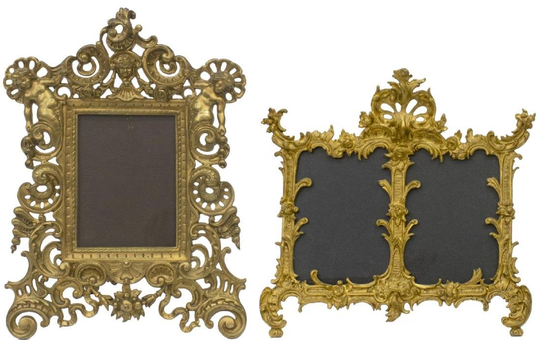 (4) ANTIQUE GILT METAL STANDING PICTURE FRAMES - 2