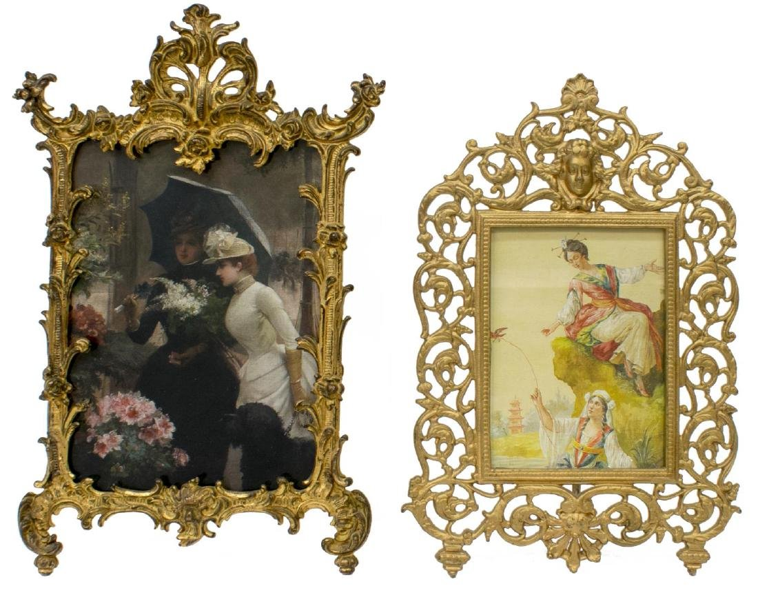 (4) ANTIQUE GILT METAL STANDING PICTURE FRAMES - 3