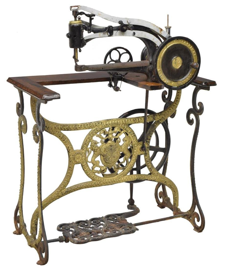ANTIQUE LEATHER SEWING MACHINE WITH STAND