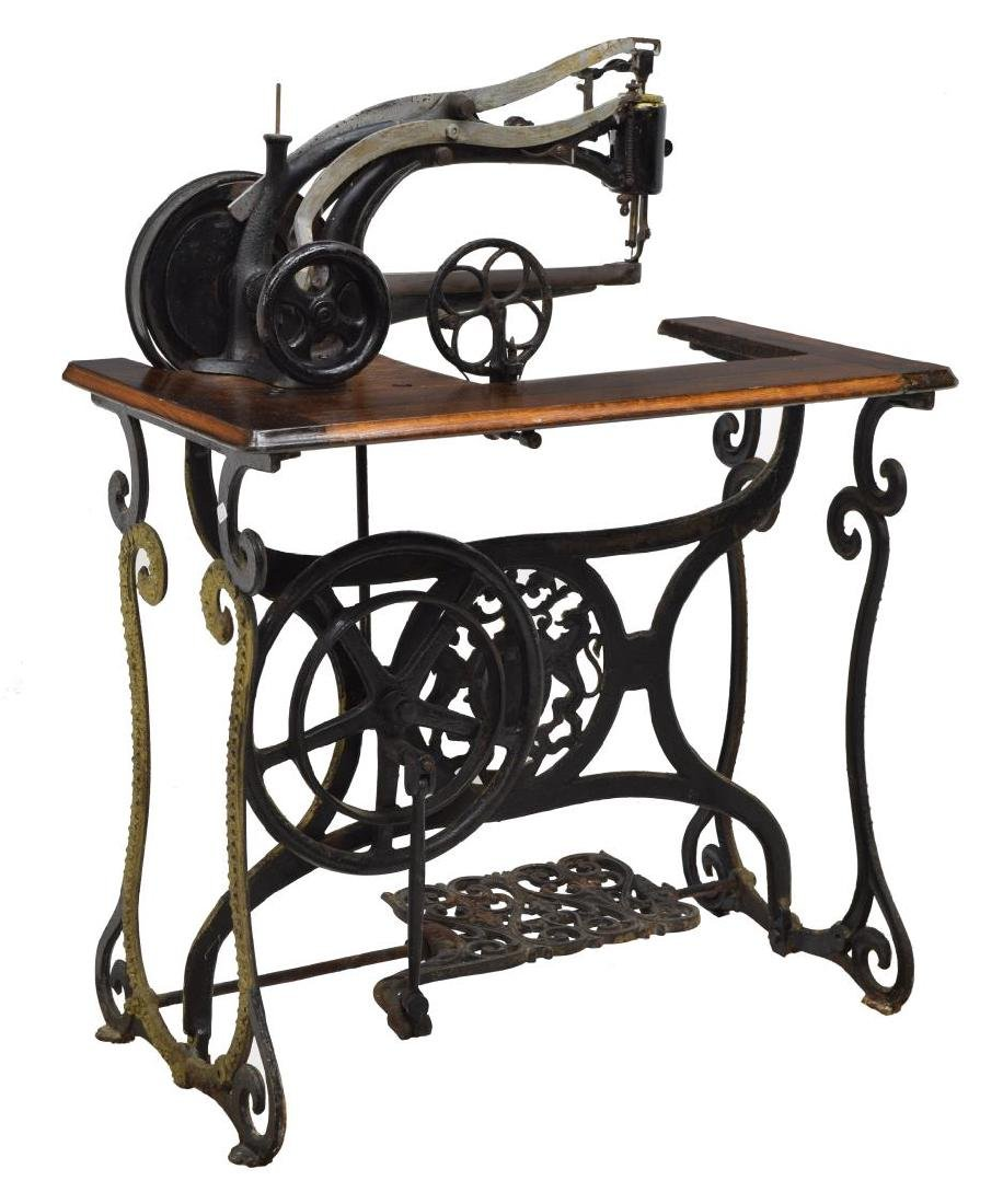 ANTIQUE LEATHER SEWING MACHINE WITH STAND - 2