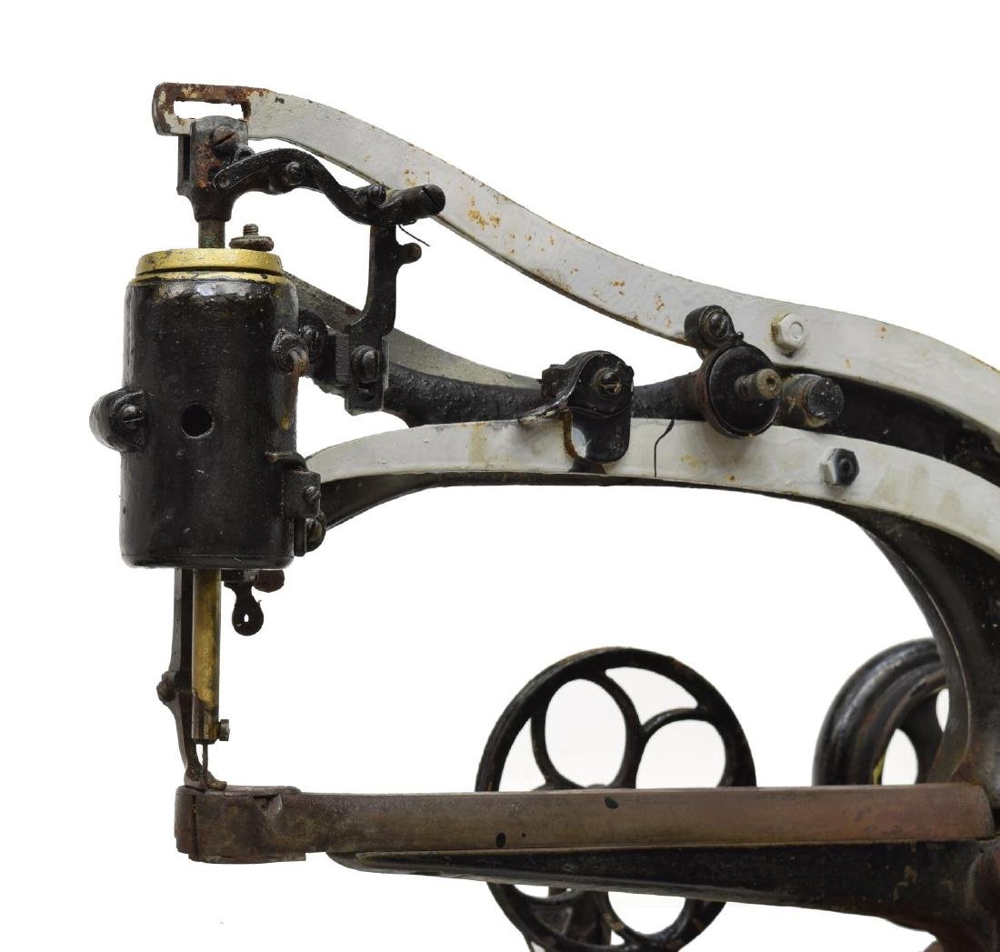 ANTIQUE LEATHER SEWING MACHINE WITH STAND - 5