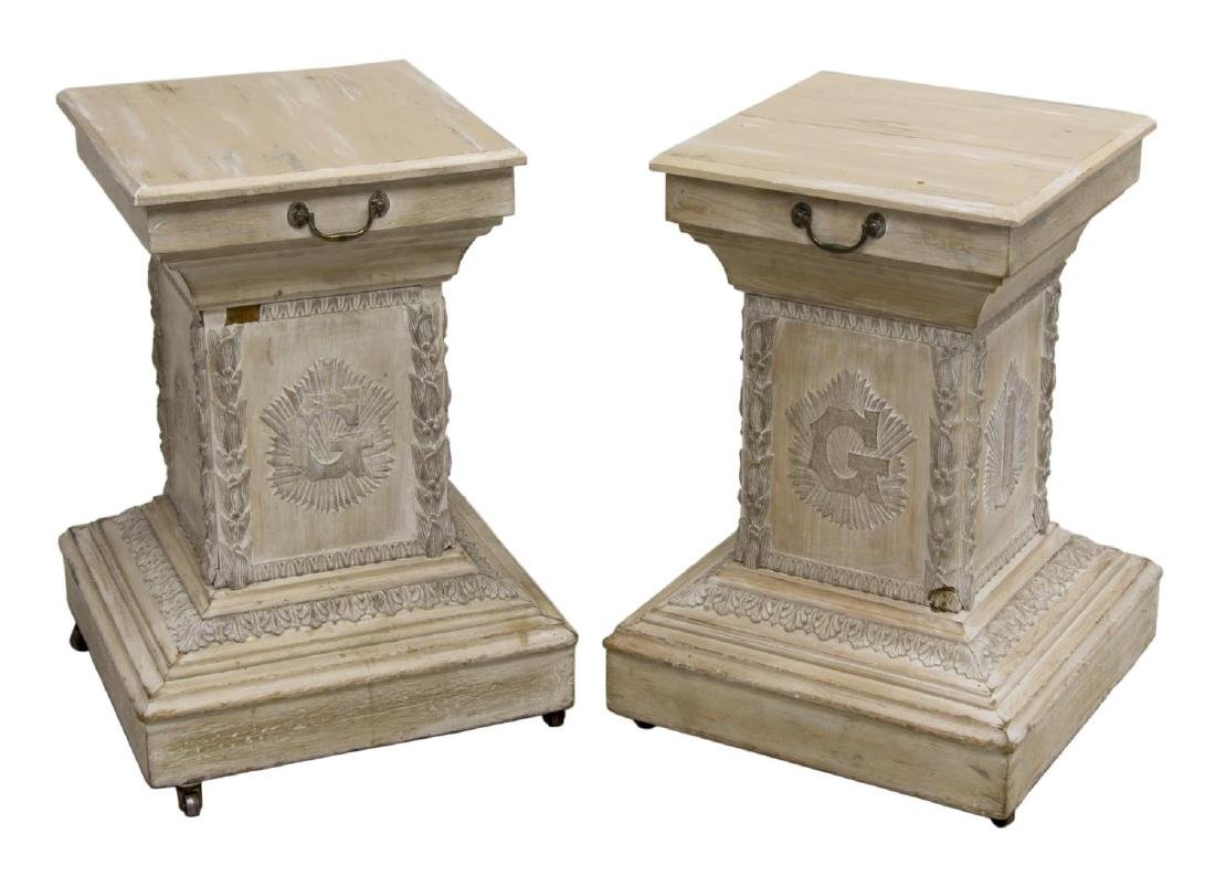 (2) WHITE-WASHED PINE MASONIC PEDESTAL TABLES